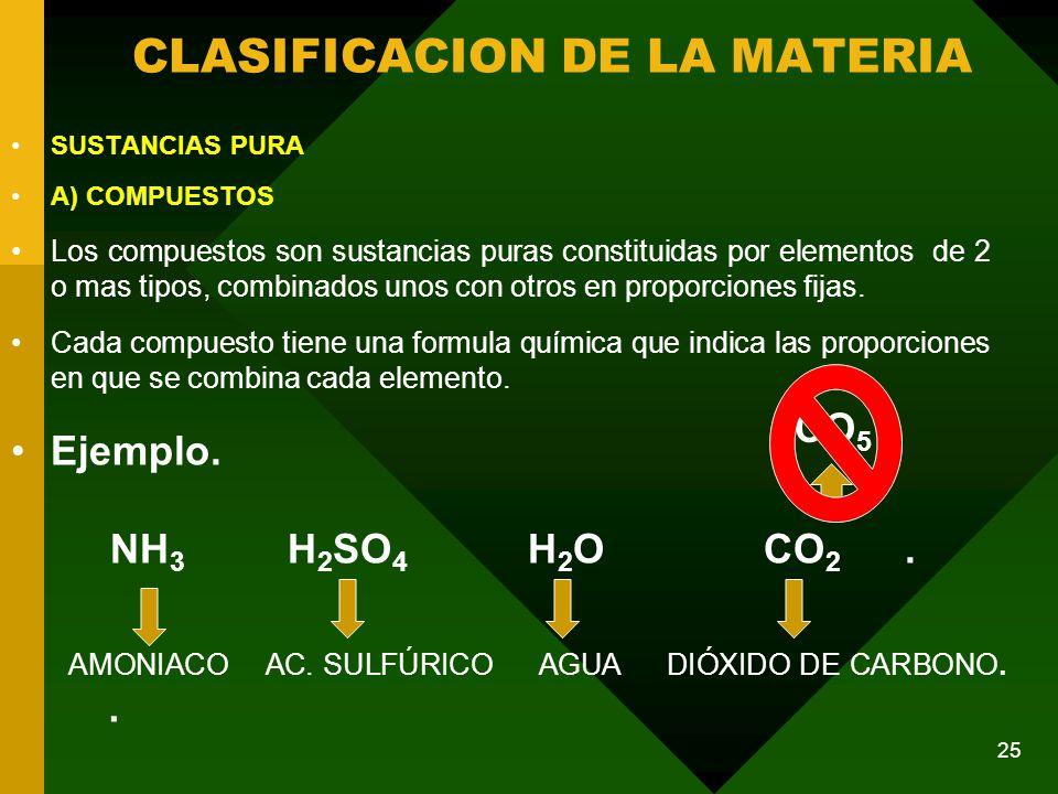 SUSTANCIAS PURA A) COMPUESTOS Los compuestos son sustancias puras constituidas por elementos de 2 o mas tipos, combinados unos con otros en proporciones fijas.
