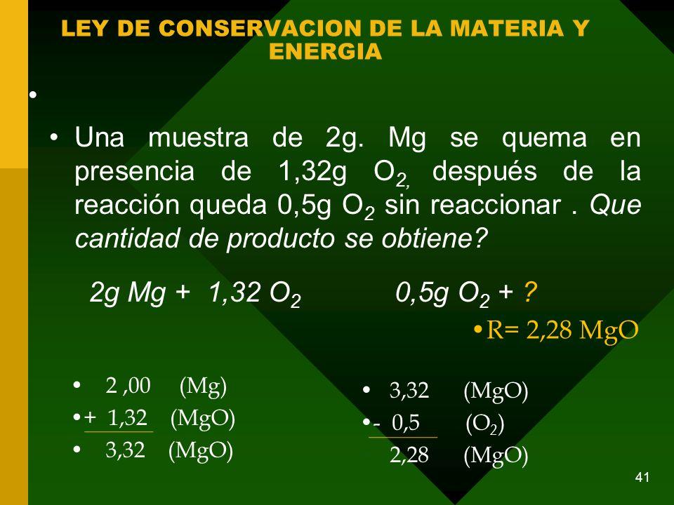 LEY DE CONSERVACION DE LA MATERIA Y ENERGIA Una muestra de 2g.