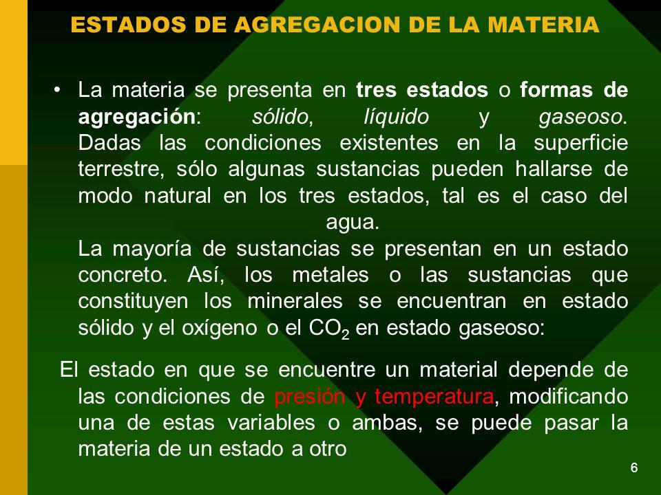 La materia se presenta en tres estados o formas de agregación: sólido, líquido y gaseoso.