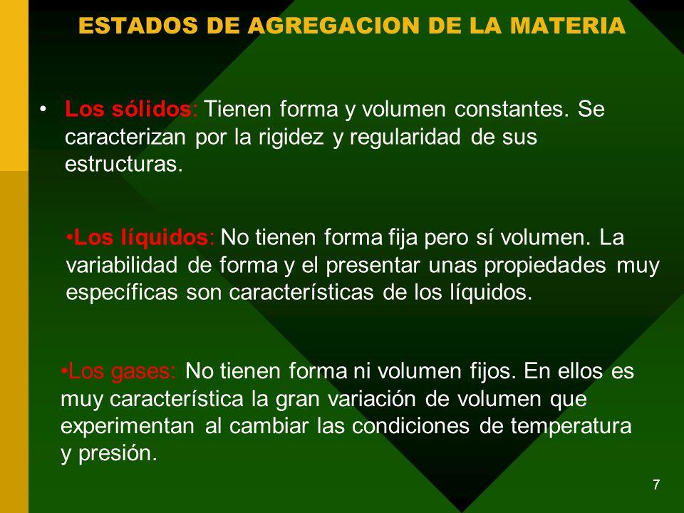 Los sólidos: Tienen forma y volumen constantes.