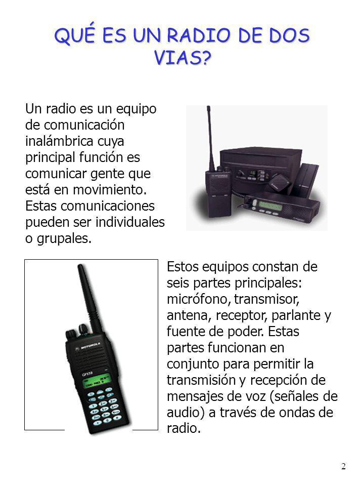 1 CONTENIDO Qué es un radio de dos vías? Para qué sirven los radios de dos vías? Qué tipos de equipos hay? Cómo funcionan dos radios? Frecuencia, rang