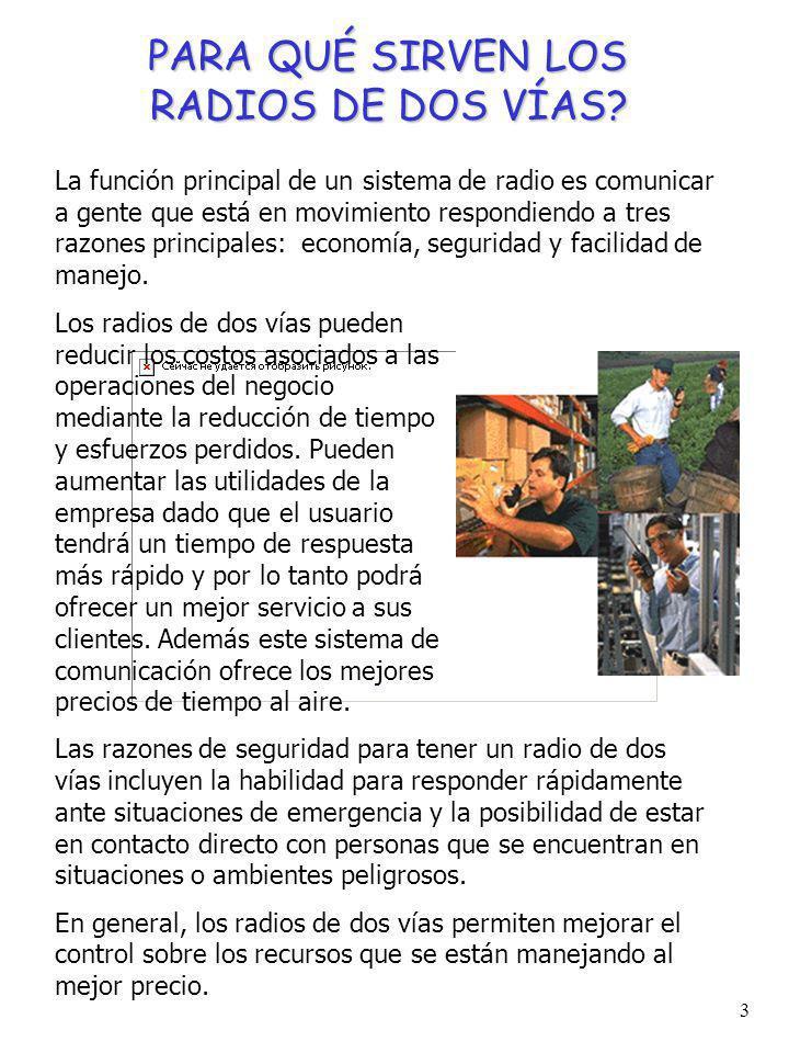 2 QUÉ ES UN RADIO DE DOS VIAS? Un radio es un equipo de comunicación inalámbrica cuya principal función es comunicar gente que está en movimiento. Est