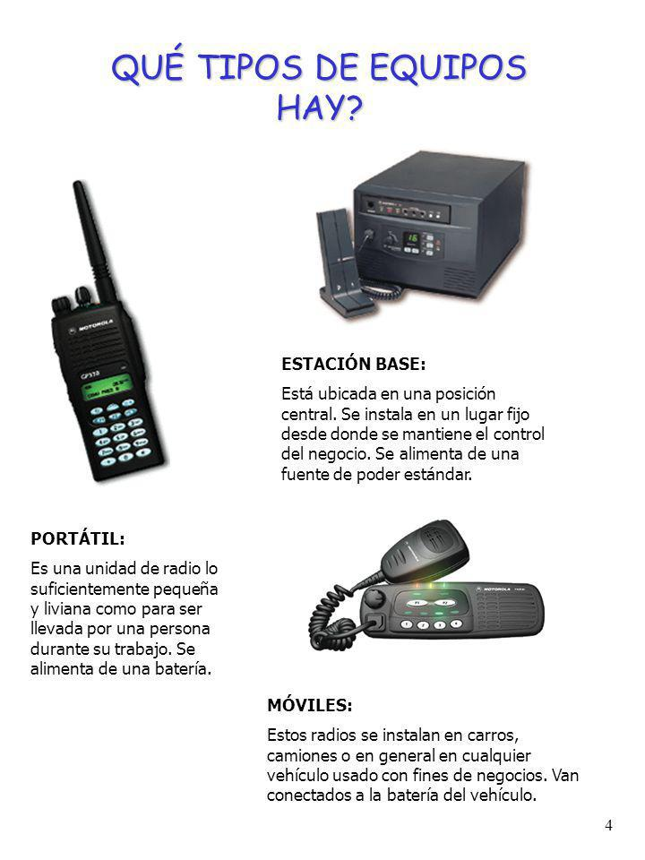 4 MÓVILES: Estos radios se instalan en carros, camiones o en general en cualquier vehículo usado con fines de negocios.
