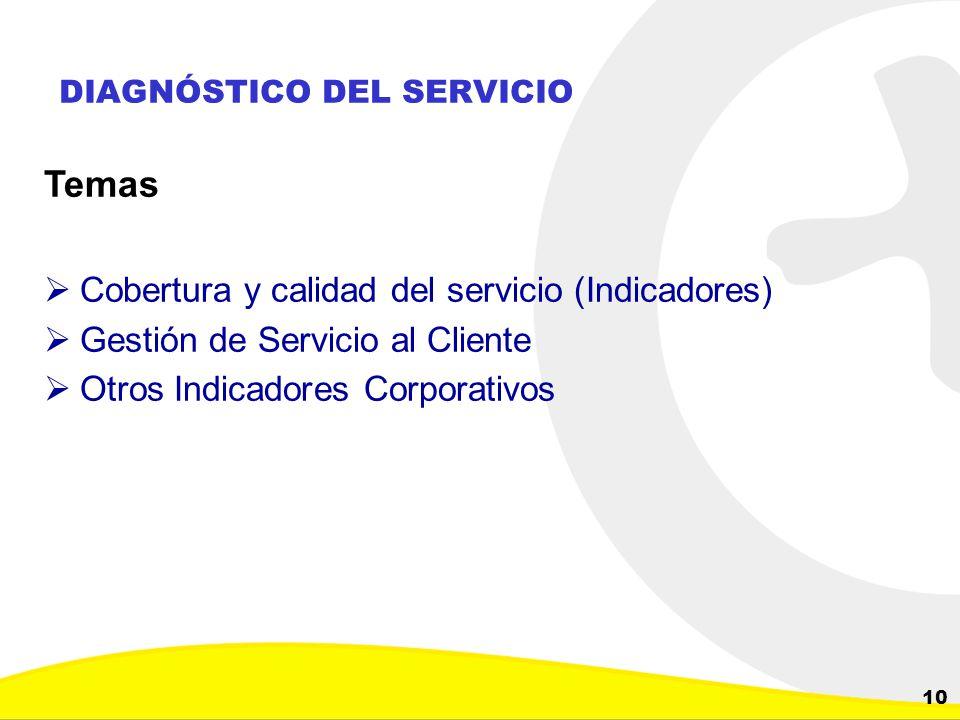 Dirección de Planeación y Control de Inversiones Gerencia Corporativa de Planeamiento y Control 10 DIAGNÓSTICO DEL SERVICIO Temas Cobertura y calidad