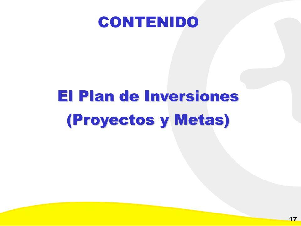 Dirección de Planeación y Control de Inversiones Gerencia Corporativa de Planeamiento y Control 17 CONTENIDO El Plan de Inversiones (Proyectos y Metas