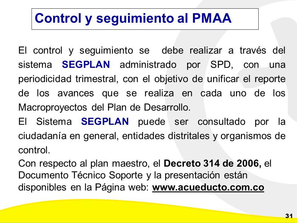 Dirección de Planeación y Control de Inversiones Gerencia Corporativa de Planeamiento y Control 31 Control y seguimiento al PMAA El control y seguimie