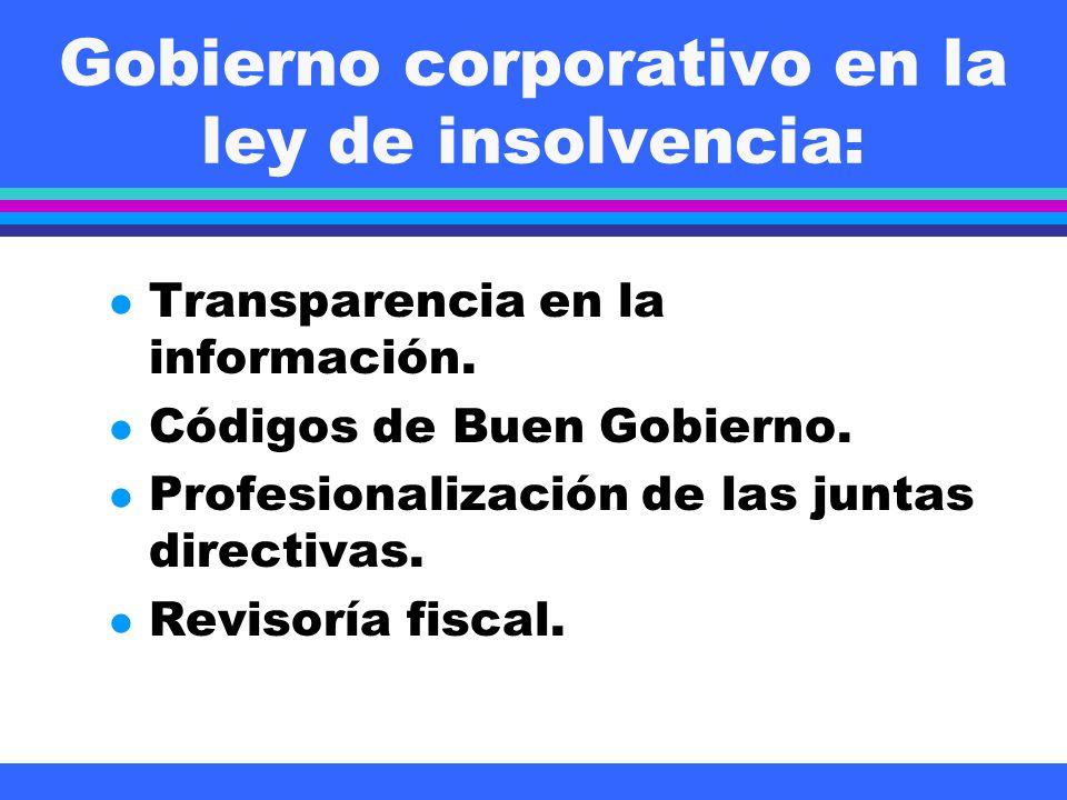 Gobierno corporativo en la ley de insolvencia: l Transparencia en la información. l Códigos de Buen Gobierno. l Profesionalización de las juntas direc