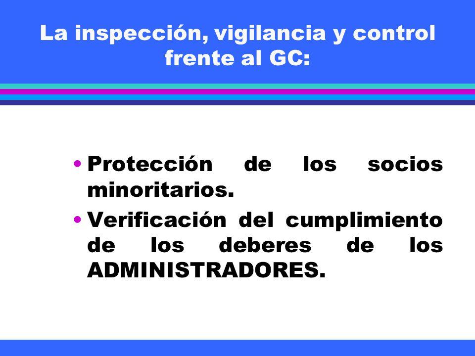 La inspección, vigilancia y control frente al GC: Protección de los socios minoritarios. Verificación del cumplimiento de los deberes de los ADMINISTR