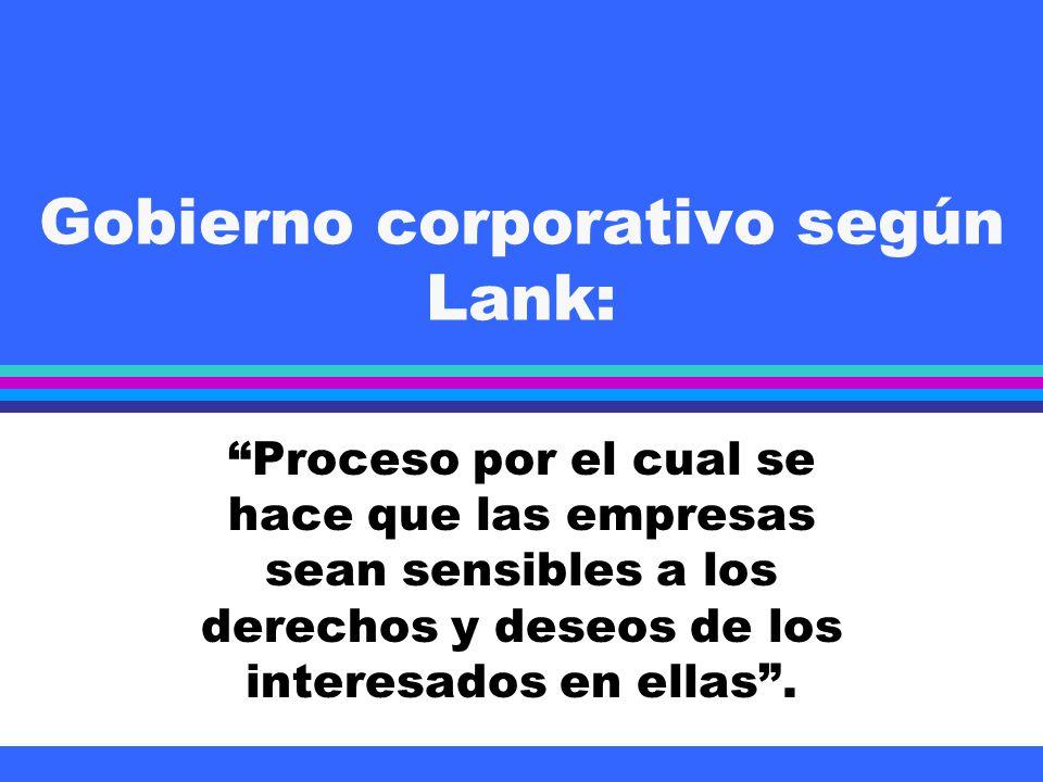 Gobierno corporativo según Lank: Proceso por el cual se hace que las empresas sean sensibles a los derechos y deseos de los interesados en ellas.