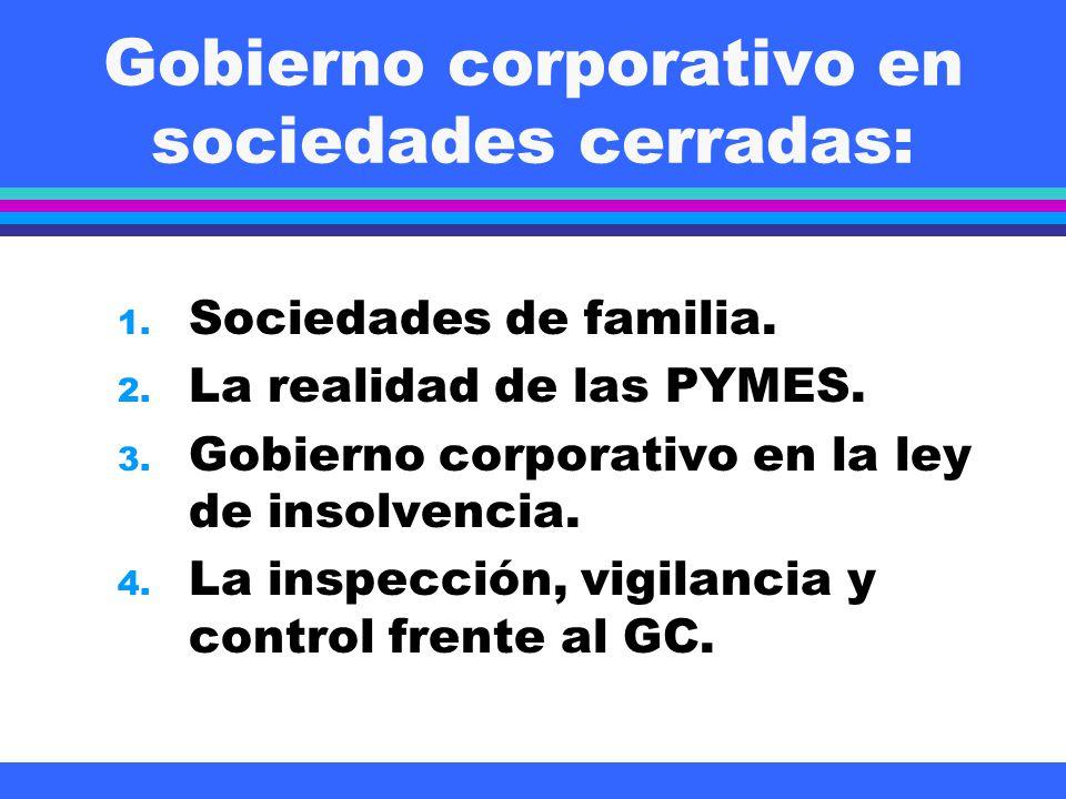 Gobierno corporativo en sociedades cerradas: 1. Sociedades de familia. 2. La realidad de las PYMES. 3. Gobierno corporativo en la ley de insolvencia.