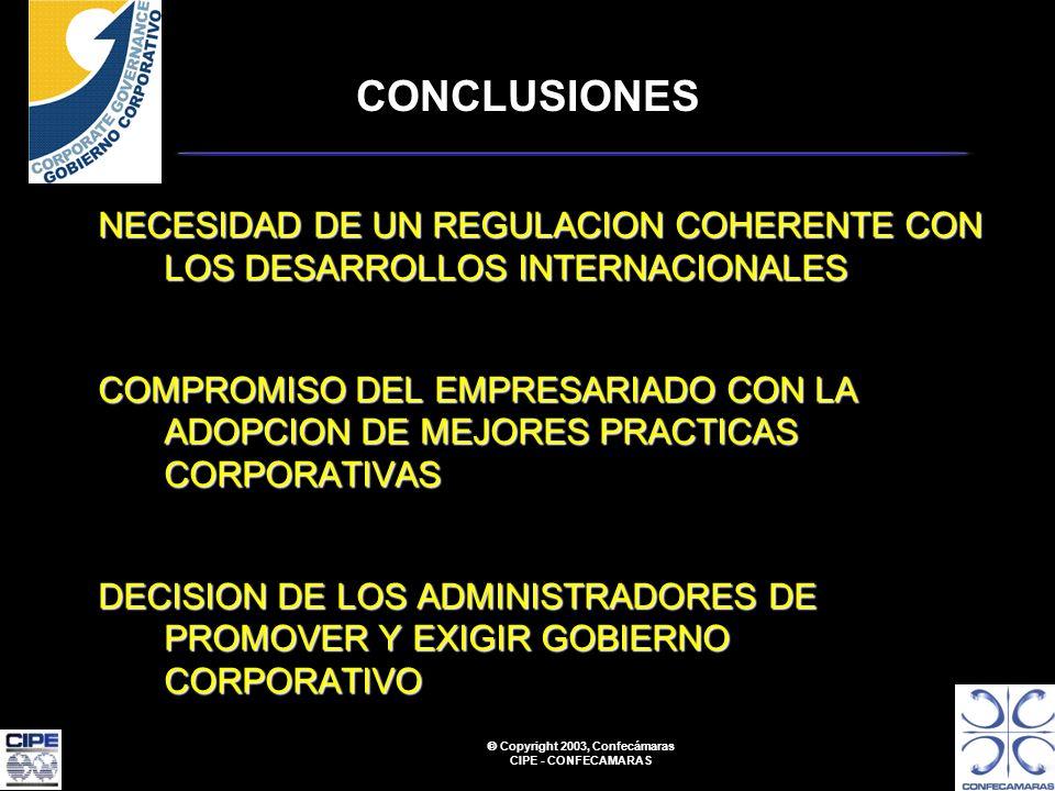 Copyright 2003, Confecámaras CIPE - CONFECAMARAS CONCLUSIONES NECESIDAD DE UN REGULACION COHERENTE CON LOS DESARROLLOS INTERNACIONALES COMPROMISO DEL EMPRESARIADO CON LA ADOPCION DE MEJORES PRACTICAS CORPORATIVAS DECISION DE LOS ADMINISTRADORES DE PROMOVER Y EXIGIR GOBIERNO CORPORATIVO