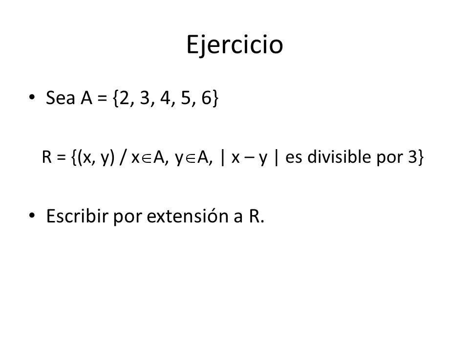 Ejercicio Sea A = {2, 3, 4, 5, 6} R = {(x, y) / x A, y A, | x – y | es divisible por 3} Escribir por extensión a R.