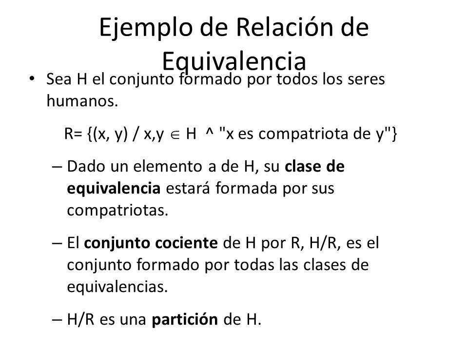 Ejemplo de Relación de Equivalencia Sea H el conjunto formado por todos los seres humanos.