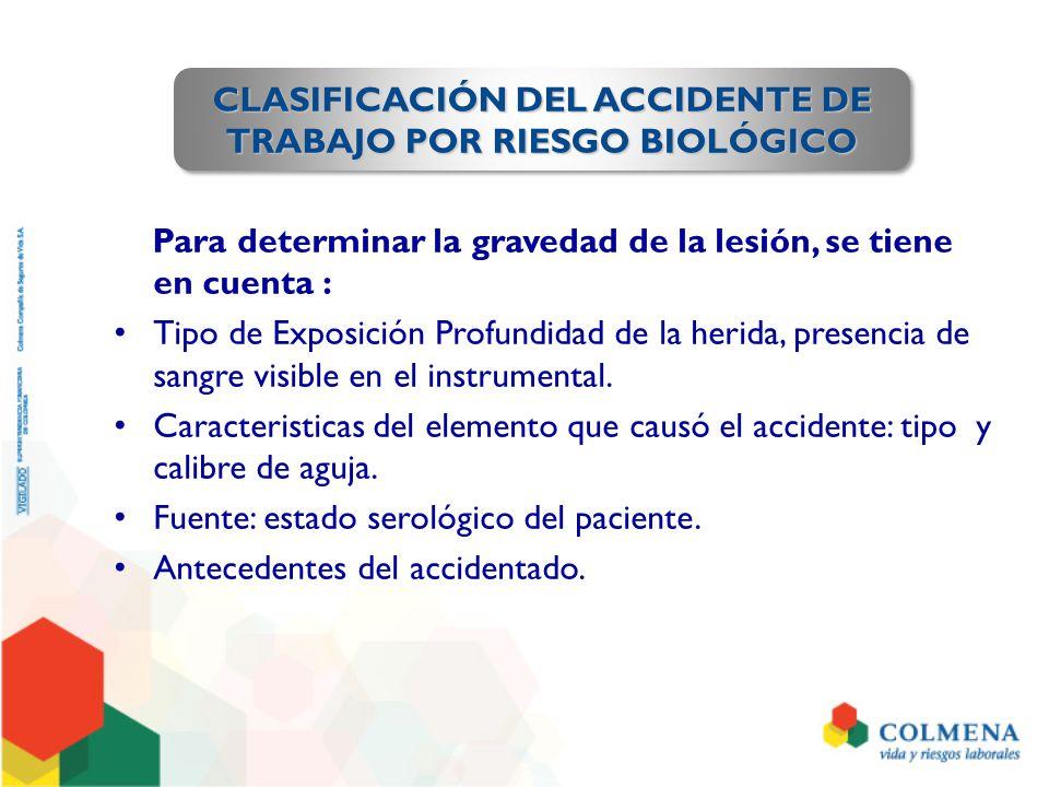 Para determinar la gravedad de la lesión, se tiene en cuenta : Tipo de Exposición Profundidad de la herida, presencia de sangre visible en el instrumental.