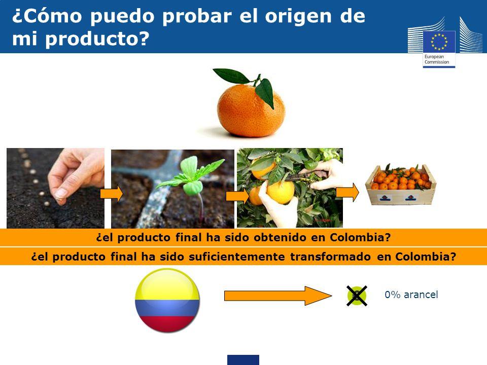 0% arancel ¿Cómo puedo probar el origen de mi producto? ¿el producto final ha sido obtenido en Colombia? ¿el producto final ha sido suficientemente tr