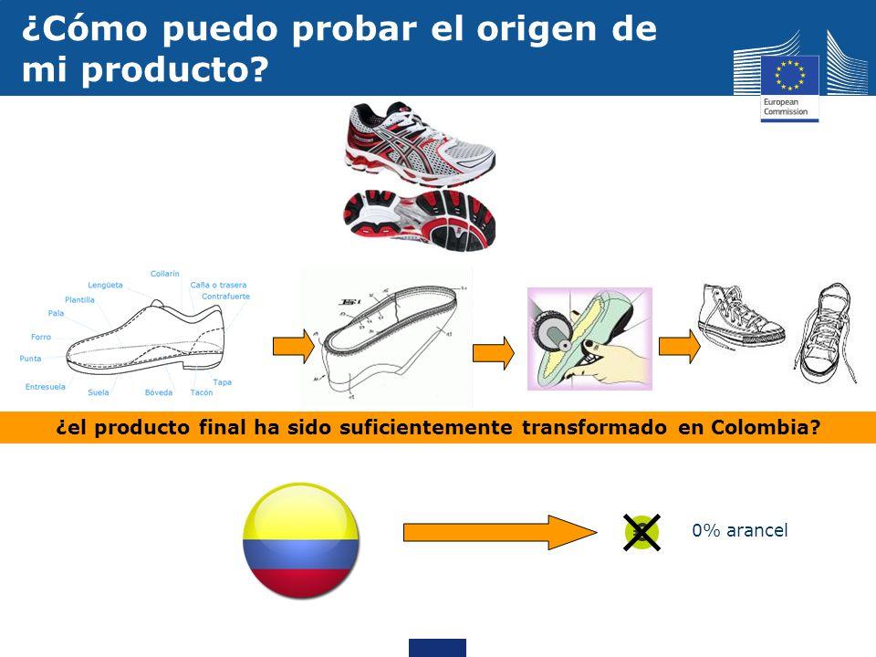 0% arancel ¿Cómo puedo probar el origen de mi producto? ¿el producto final ha sido suficientemente transformado en Colombia?