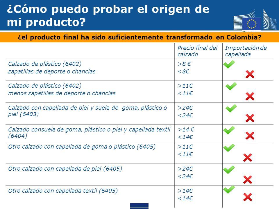 ¿Cómo puedo probar el origen de mi producto? ¿el producto final ha sido suficientemente transformado en Colombia? Precio final del calzado Importación