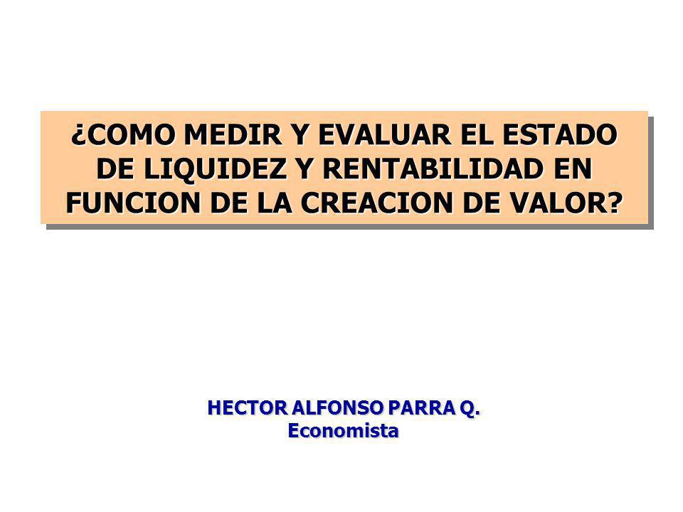 ¿COMO MEDIR Y EVALUAR EL ESTADO DE LIQUIDEZ Y RENTABILIDAD EN FUNCION DE LA CREACION DE VALOR.