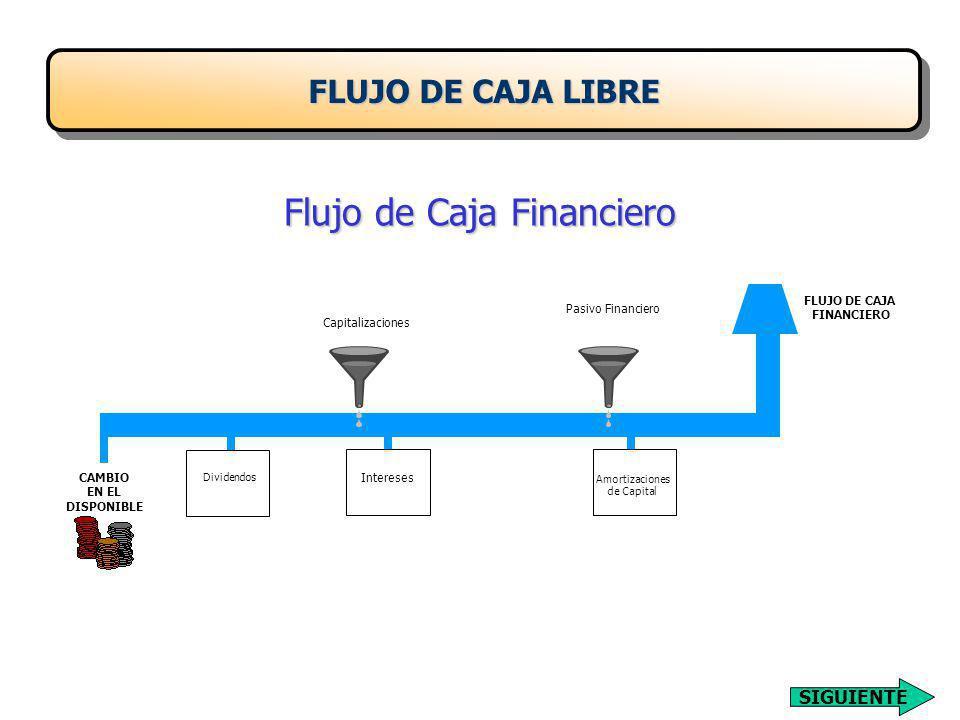 Flujo de Caja Financiero FLUJO DE CAJA LIBRE FLUJO DE CAJA FINANCIERO Pasivo Financiero Capitalizaciones Amortizaciones de Capital InteresesCAMBIO EN EL DISPONIBLE Dividendos SIGUIENTE