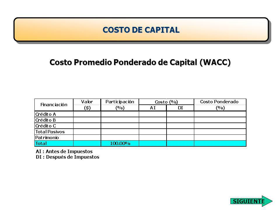 Costo Promedio Ponderado de Capital (WACC) AI : Antes de Impuestos DI : Después de Impuestos COSTO DE CAPITAL SIGUIENTE