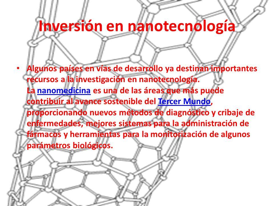 Inversión en nanotecnología Algunos países en vías de desarrollo ya destinan importantes recursos a la investigación en nanotecnología. La nanomedicin