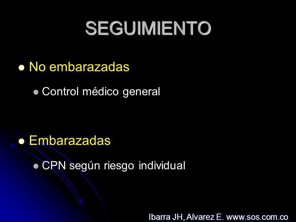 SEGUIMIENTO No embarazadas Control médico general Embarazadas CPN según riesgo individual Ibarra JH, Alvarez E. www.sos.com.co