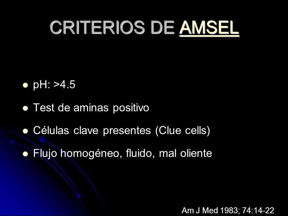 CRITERIOS DE AMSEL AMSEL pH: >4.5 Test de aminas positivo Células clave presentes (Clue cells) Flujo homogéneo, fluido, mal oliente Am J Med 1983; 74: