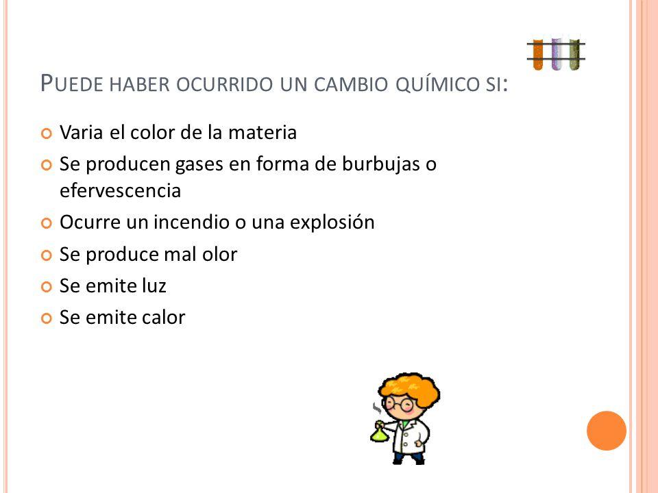 P UEDE HABER OCURRIDO UN CAMBIO QUÍMICO SI : Varia el color de la materia Se producen gases en forma de burbujas o efervescencia Ocurre un incendio o
