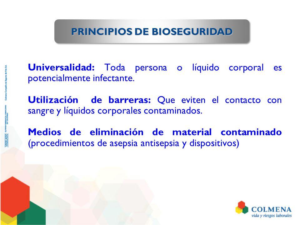 Universalidad: Toda persona o líquido corporal es potencialmente infectante. Utilización de barreras: Que eviten el contacto con sangre y líquidos cor