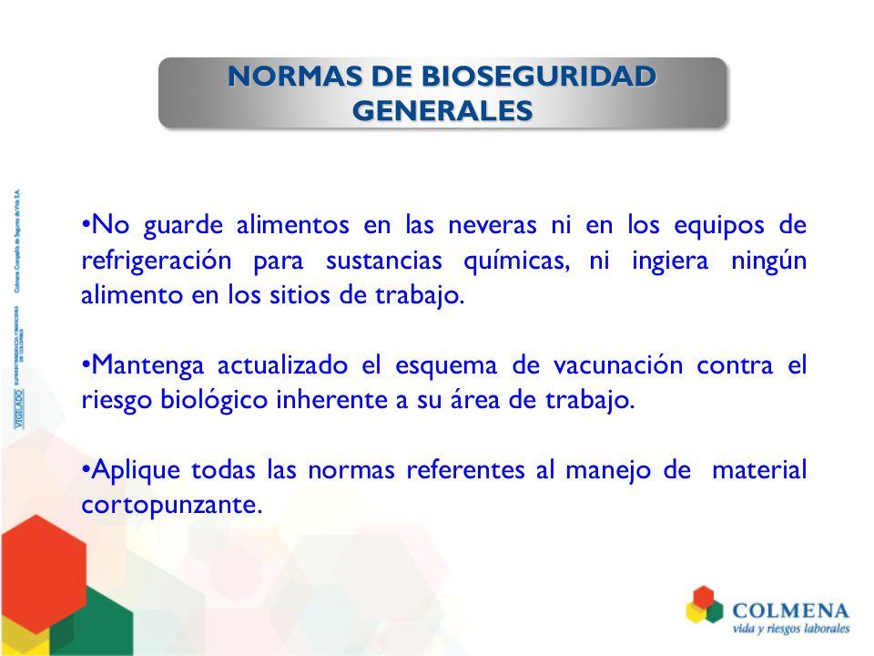 NORMAS DE BIOSEGURIDAD GENERALES GENERALES No guarde alimentos en las neveras ni en los equipos de refrigeración para sustancias químicas, ni ingiera