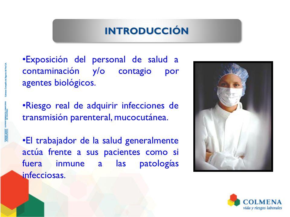 INTRODUCCIÓNINTRODUCCIÓN Exposición del personal de salud a contaminación y/o contagio por agentes biológicos. Riesgo real de adquirir infecciones de