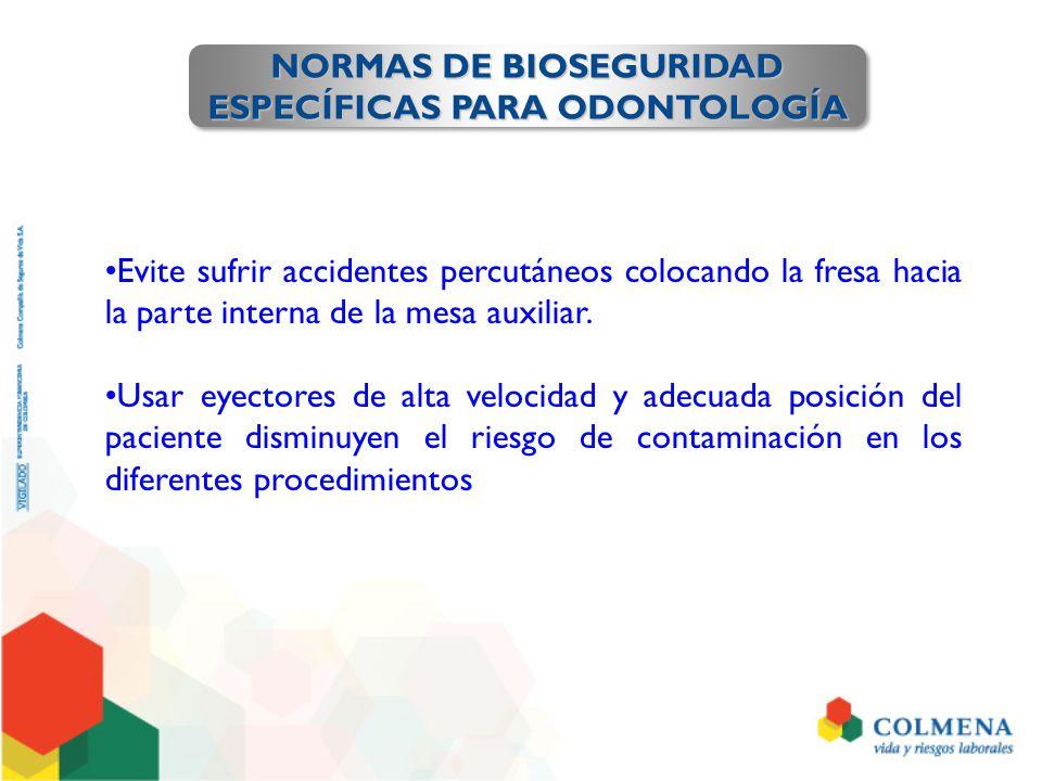 NORMAS DE BIOSEGURIDAD ESPECÍFICAS PARA ODONTOLOGÍA NORMAS DE BIOSEGURIDAD ESPECÍFICAS PARA ODONTOLOGÍA Evite sufrir accidentes percutáneos colocando