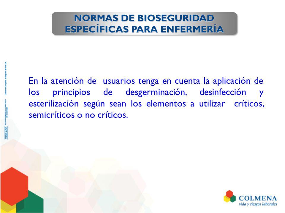 NORMAS DE BIOSEGURIDAD ESPECÍFICAS PARA ENFERMERÍA NORMAS DE BIOSEGURIDAD ESPECÍFICAS PARA ENFERMERÍA En la atención de usuarios tenga en cuenta la ap