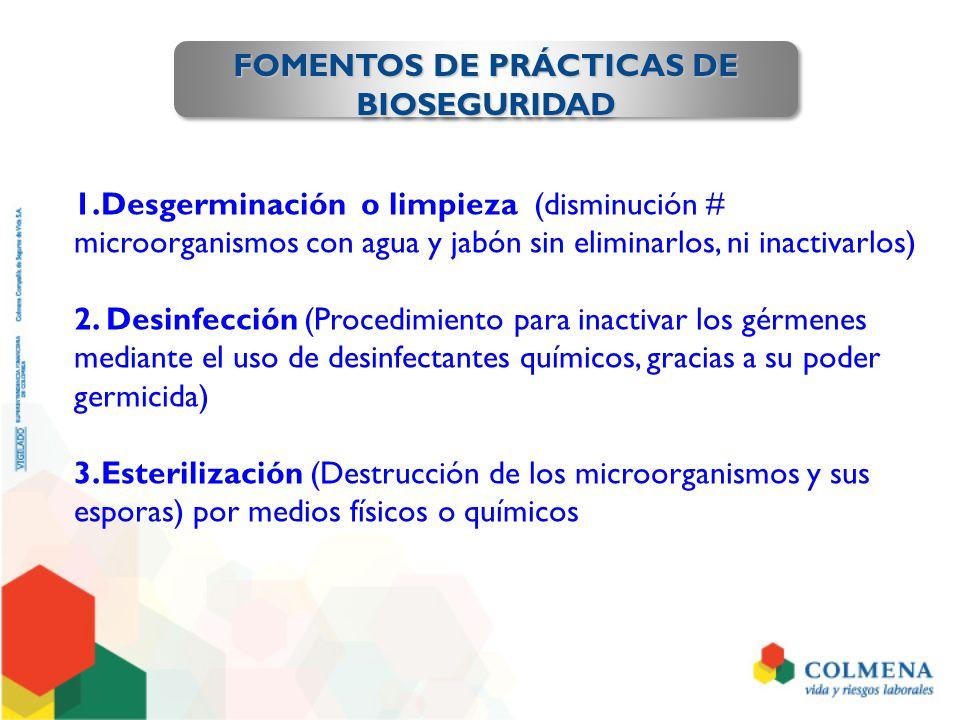 1.Desgerminación o limpieza (disminución # microorganismos con agua y jabón sin eliminarlos, ni inactivarlos) 2. Desinfección (Procedimiento para inac