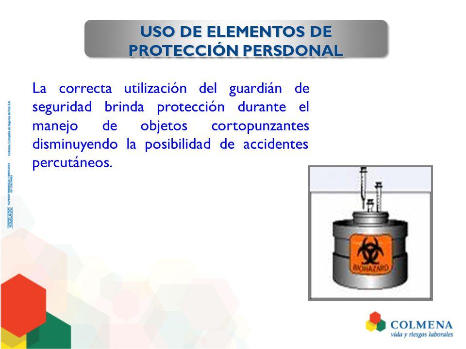 USO DE ELEMENTOS DE PROTECCIÓN PERSDONAL La correcta utilización del guardián de seguridad brinda protección durante el manejo de objetos cortopunzant