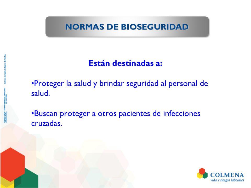 PREVENCIÓN DEL ACCIDENTE DE TRABAJO CON RIESGO BIOLÓGICO Áreas de Riesgo a vigilar: Los sitios o servicios donde se manejan líquidos de precaución universal.