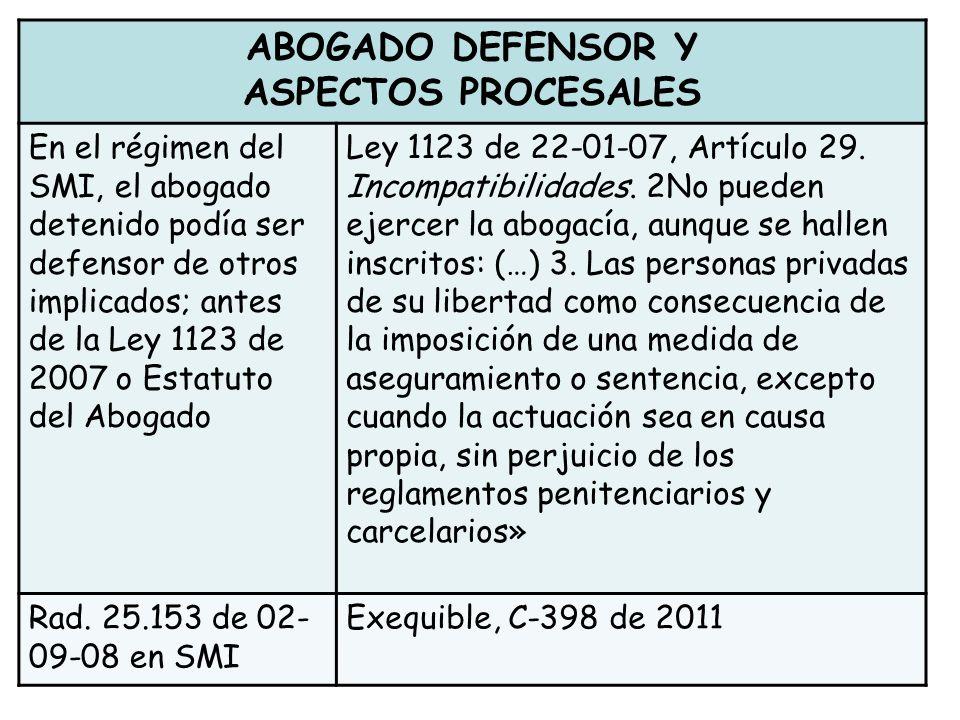 ABOGADO DEFENSOR Y ASPECTOS PROCESALES En el régimen del SMI, el abogado detenido podía ser defensor de otros implicados; antes de la Ley 1123 de 2007 o Estatuto del Abogado Ley 1123 de 22-01-07, Artículo 29.
