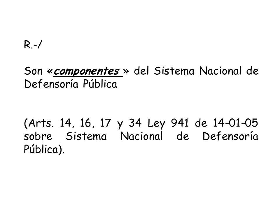 R.-/ Son «componentes » del Sistema Nacional de Defensoría Pública (Arts.