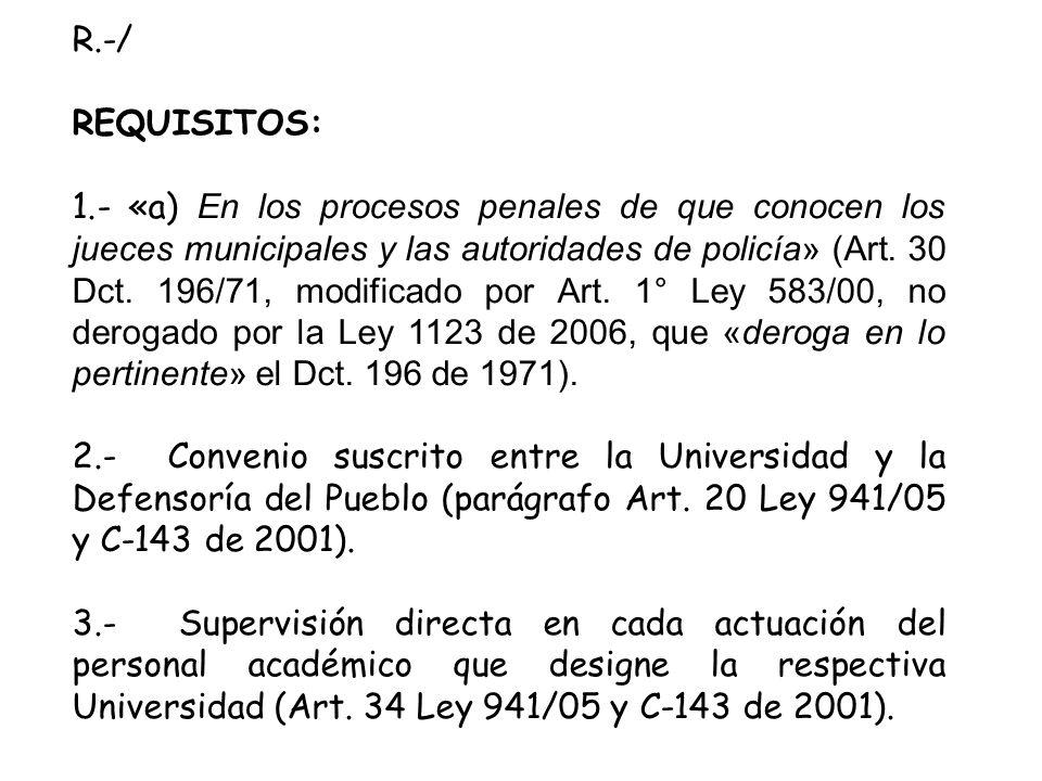 R.-/ REQUISITOS: 1.- «a) En los procesos penales de que conocen los jueces municipales y las autoridades de policía» (Art.