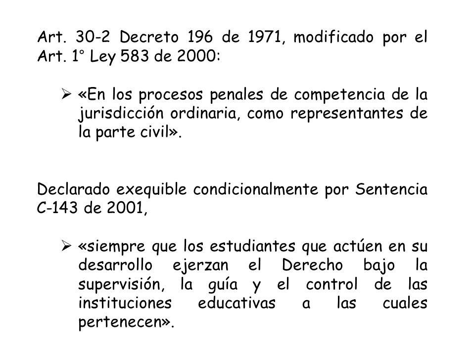 Art.30-2 Decreto 196 de 1971, modificado por el Art.