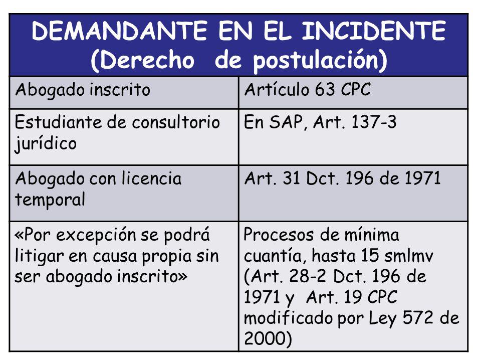 DEMANDANTE EN EL INCIDENTE (Derecho de postulación) Abogado inscritoArtículo 63 CPC Estudiante de consultorio jurídico En SAP, Art.