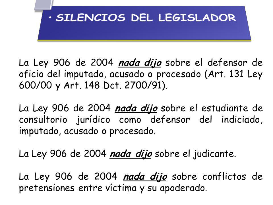 La Ley 906 de 2004 nada dijo sobre el defensor de oficio del imputado, acusado o procesado (Art.