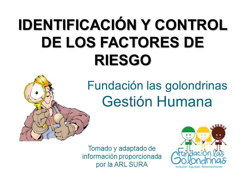 IDENTIFICACIÓN Y CONTROL DE LOS FACTORES DE RIESGO Fundación las golondrinas Gestión Humana Tomado y adaptado de información proporcionada por la ARL SURA