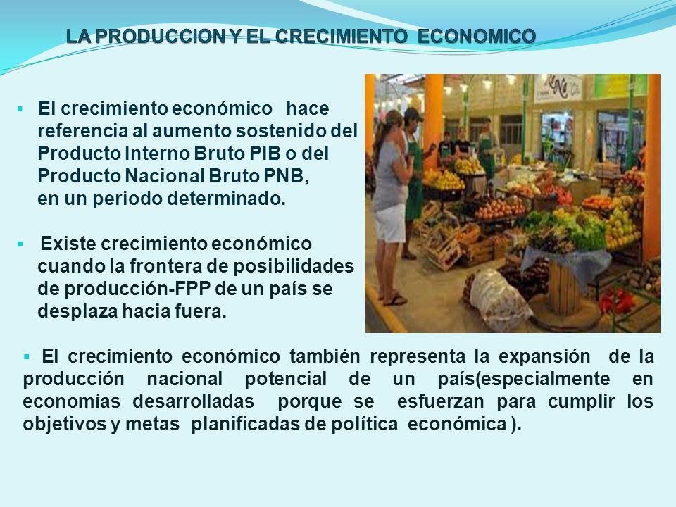 El crecimiento económico hace referencia al aumento sostenido del Producto Interno Bruto PIB o del Producto Nacional Bruto PNB, en un periodo determin