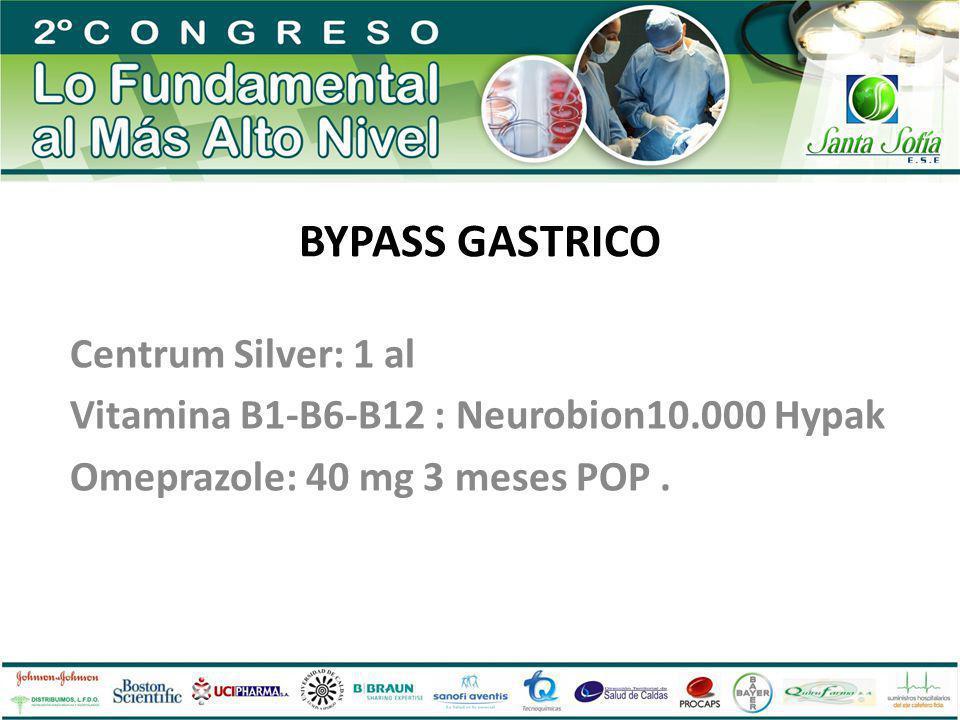 BYPASS GASTRICO Centrum Silver: 1 al Vitamina B1-B6-B12 : Neurobion10.000 Hypak Omeprazole: 40 mg 3 meses POP.