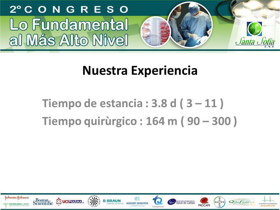 Nuestra Experiencia Tiempo de estancia : 3.8 d ( 3 – 11 ) Tiempo quirùrgico : 164 m ( 90 – 300 )