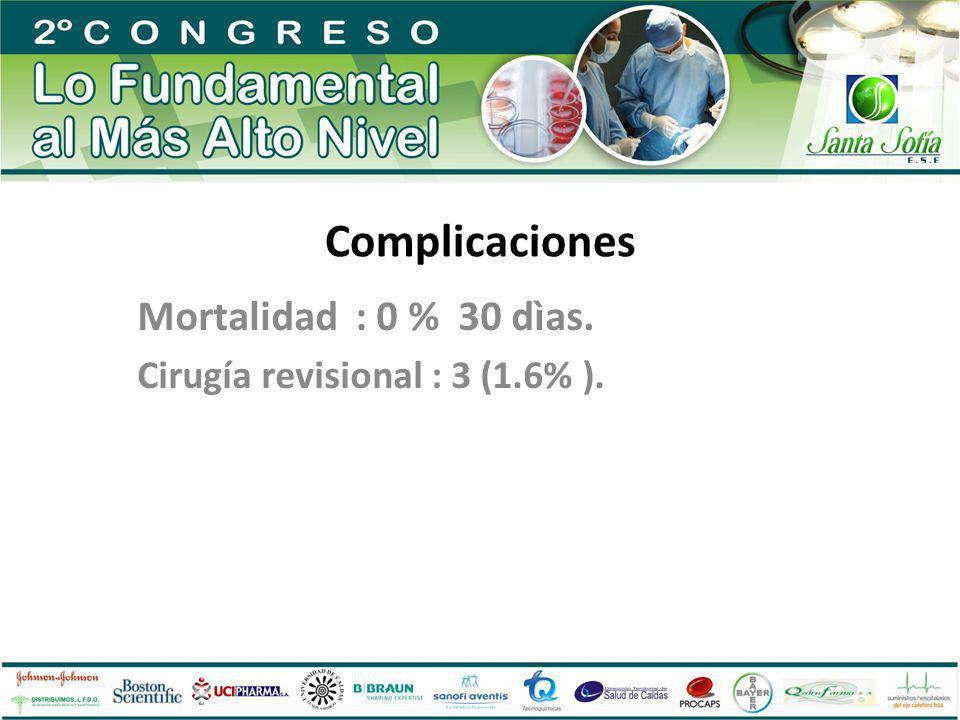 Complicaciones Mortalidad : 0 % 30 dìas. Cirugía revisional : 3 (1.6% ).
