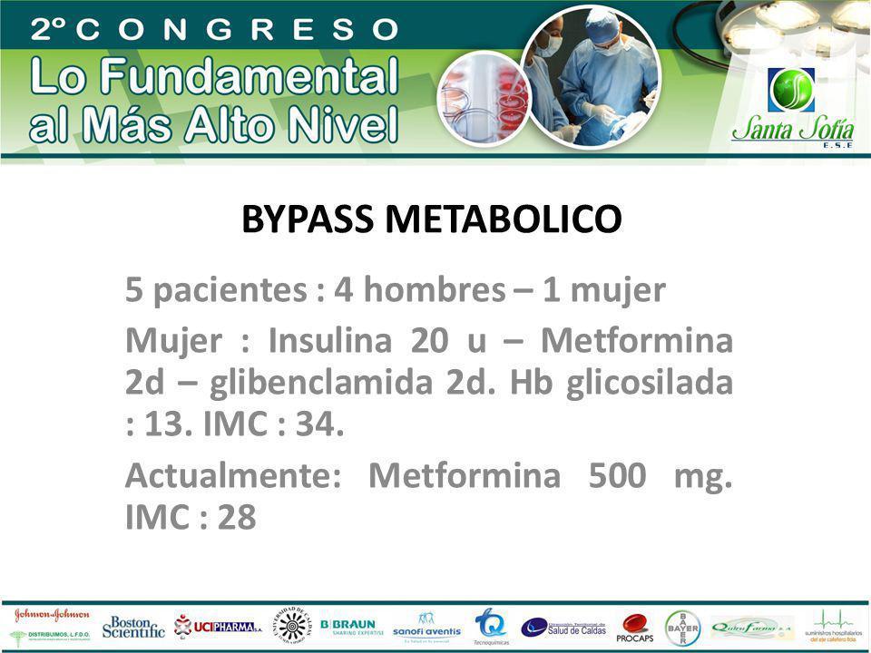 BYPASS METABOLICO 5 pacientes : 4 hombres – 1 mujer Mujer : Insulina 20 u – Metformina 2d – glibenclamida 2d. Hb glicosilada : 13. IMC : 34. Actualmen