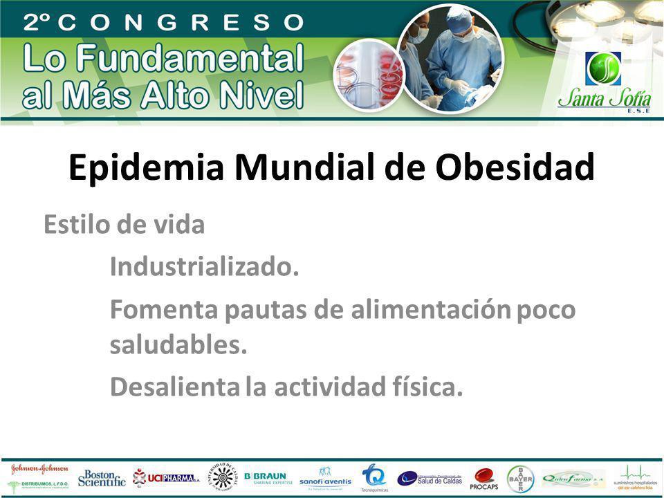 Epidemia Mundial de Obesidad Estilo de vida Industrializado. Fomenta pautas de alimentación poco saludables. Desalienta la actividad física.