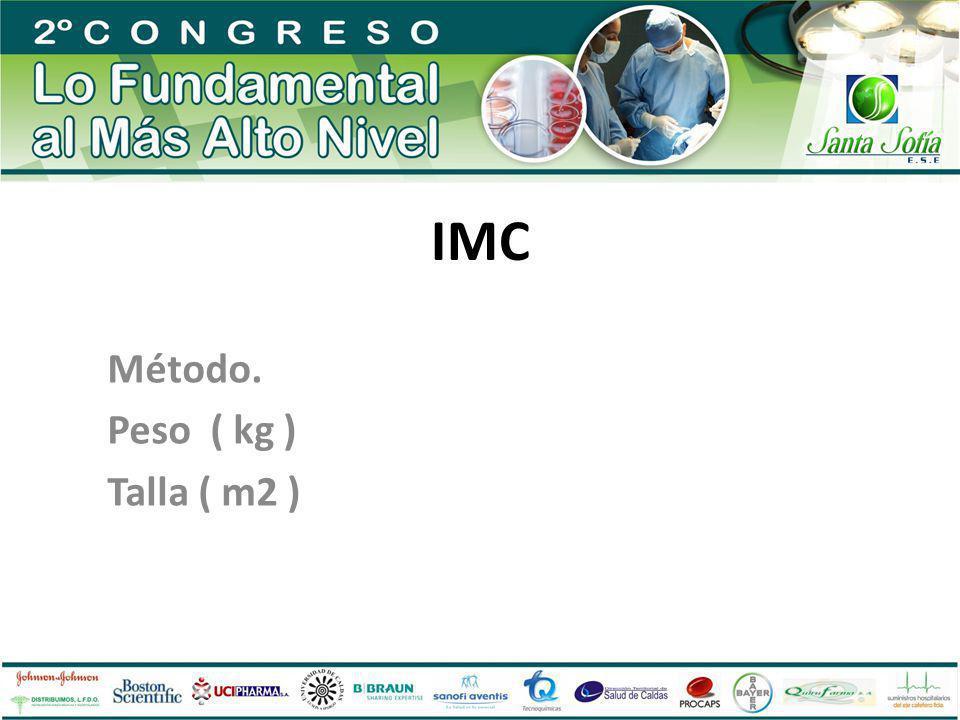 IMC Método. Peso ( kg ) Talla ( m2 )